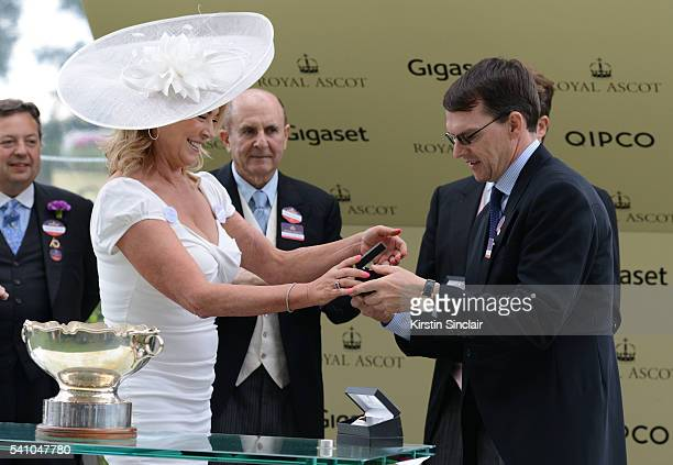 Amanda Redman presents the prizes to Aidan O'Brien for winning the Chesham Stakes with Churchill on day 5 of Royal Ascot at Ascot Racecourse on June...