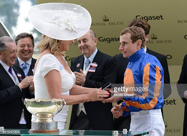 Amanda Redman presents the prizes to Ryan Moore and Churchill for winning the Chesham Stakes on day 5 of Royal Ascot at Ascot Racecourse on June 18...