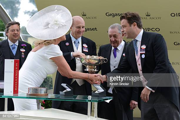 Amanda Redman presents the prizes to Tom Magnier for winning the Chesham Stakes with Churchill on day 5 of Royal Ascot at Ascot Racecourse on June 18...