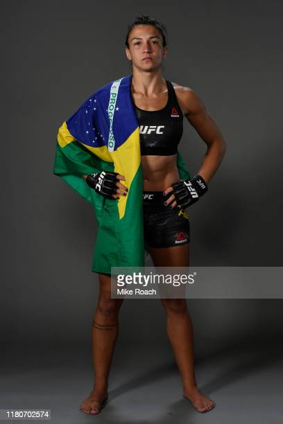 Amanda Ribas of Brazil poses for a portrait backstage during the UFC Fight Night event at Amalie Arena on October 12, 2019 in Tampa, Florida.