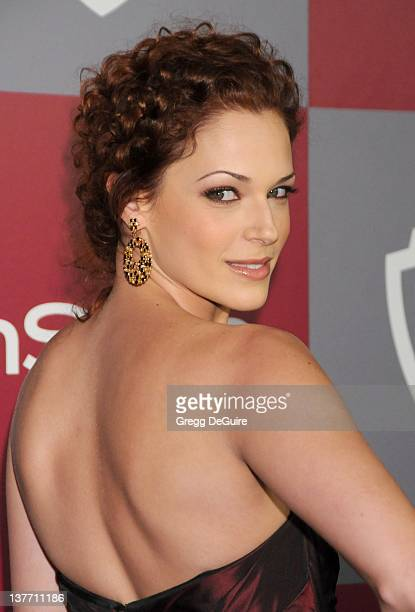 Amanda Righetti arrives at the 12th Annual Warner Bros and Instyle PostGolden Globe Party at the Beverly Hilton Hotel on January 16 2011 in Beverly...