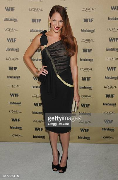 Amanda Righetti arrives at the Entertainment Weekly and Women In Film PreEmmy Party at the 'Restaurant' at the Sunset Marquis Hotel on August 27 2010...