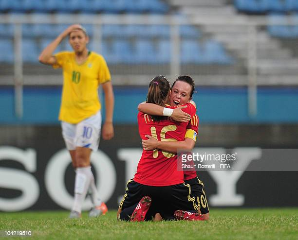 Amanda Sampedro and Paula Nicart of Spain celebrate at the final whistle of the FIFA U17 Women's World Cup Quarter Final match between Spain and...