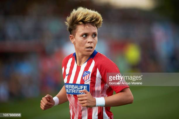 Amanda Sampedro of Atletico de Madrid looks on during the UEFA Women Champions League Round of 32 first leg between Atletico de Madrid and Manchester...