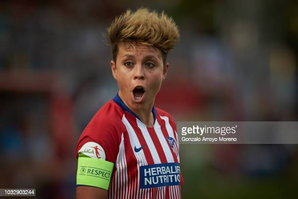 Amanda Sampedro of Atletico de Madrid reacts during the UEFA Women Champions League Round of 32 first leg between Atletico de Madrid and Manchester...