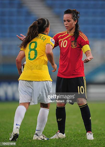 Amanda Sampedro of Spain and Andressa of Brazil confront each other during the FIFA U17 Women's World Cup Quarter Final match between Spain and...