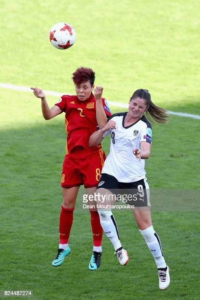 Amanda Sampedro of Spain and Sarah Zadrazil of Austria battle to win a header during the UEFA Women's Euro 2017 Quarter Final match between Austria...