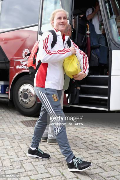 Amanda Sampedro of Spain arrives at the stadium prior to the Group D match between Scotland and Spain during the UEFA Women's Euro 2017 at Stadion De...