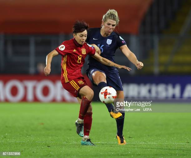 Amanda Sampedro of Spain battles with Millie Bright of England during the UEFA Women's Euro 2017 Group D match between England and Spain at Rat...