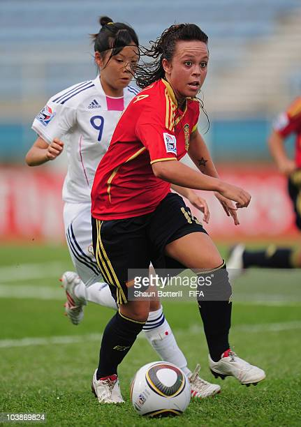 Amanda Sampedro of Spain breaks away with the ball during the FIFA U17 Women's World Cup Group C match between Spain and Japan at the Ato Boldon...