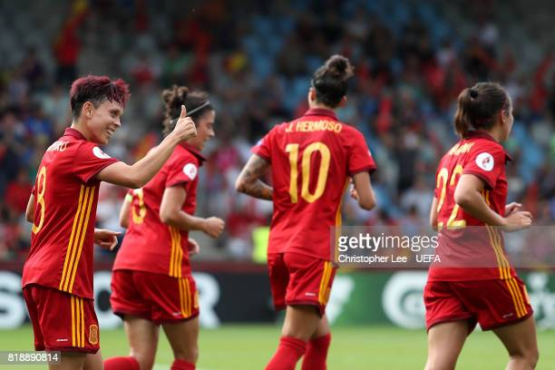 Amanda Sampedro of Spain celebrates after scoring the team and the games second goal during the UEFA Women's Euro 2017 Group D match between Spain...