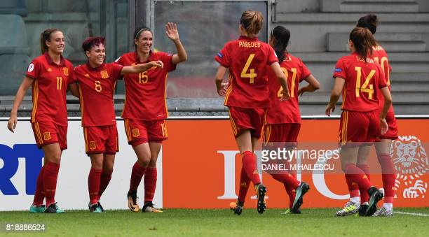 Amanda Sampedro of Spain celebrates with teammates after she scored against Portugal during the UEFA Womens Euro 2017 football tournament match...