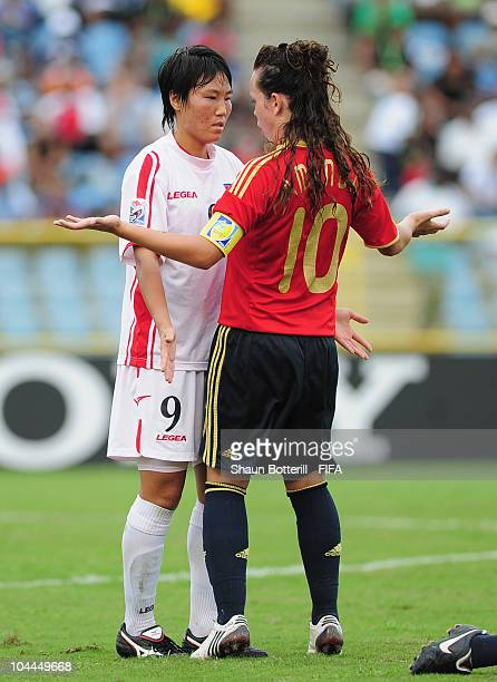 Amanda Sampedro of Spain confronts O Hui Sun of North Korea during the FIFA U17 Women's World Cup 3rd Place Playoff match between Spain and North...