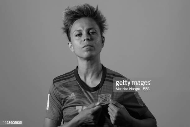 Amanda Sampedro of Spain poses for a portrait during the official FIFA Women's World Cup 2019 portrait session at Hotel Barriere Le Normandy on June...