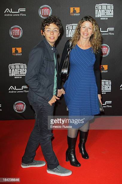 Amanda Sandrelli and her son attend the 'C'era Una Volta In America Director's Cut' premiere at Space Moderno on October 16 2012 in Rome Italy