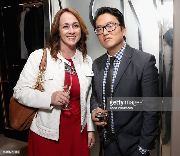 Amanda Sattler and Peter Han with Covenant House attend The Hollywood Reporter Salvatore Ferragamo's celebration of the entertainment industry's men...