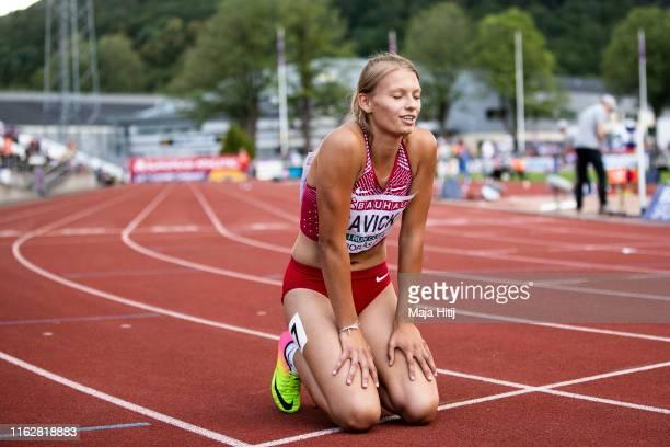 Amanda Savicka of Latvia reacts after the Heptathlon Women 200m on July 18 2019 in Boras Sweden
