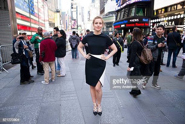Amanda Schull of Syfy's '12 Monkeys' at the Nasdaq Stock Market Closing Bell at NASDAQ on April 14 2016 in New York City