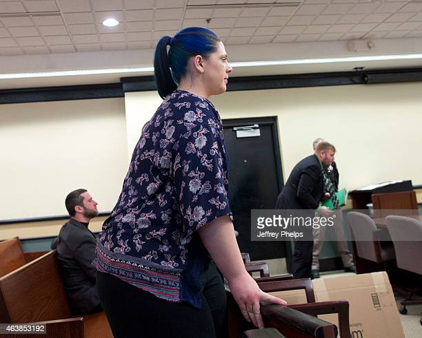 Amanda Schutz girlfriend of Dustin Diamond enters a courtroom to attend further proceedings at Ozaukee County Courthouse on February 19 2015 in Port...