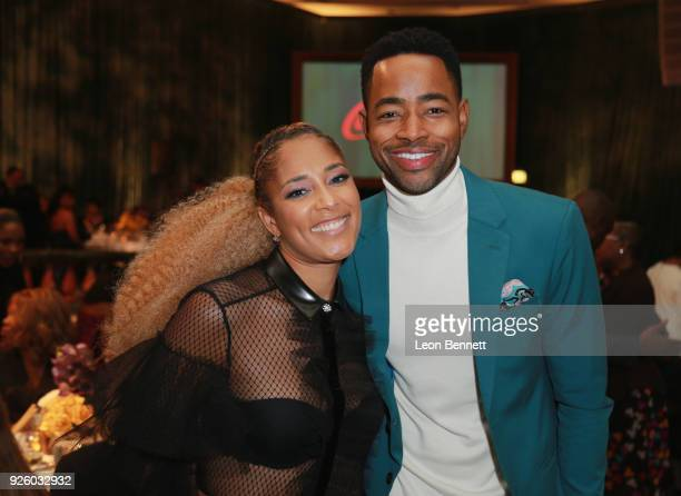 Amanda Seales and Jay Ellis onstage during the 2018 Essence Black Women In Hollywood Oscars Luncheon at Regent Beverly Wilshire Hotel on March 1 2018...