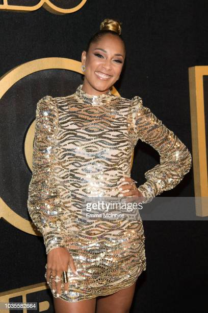 Amanda Seales arrives at HBO's Post Emmy Awards Reception at the Plaza at the Pacific Design Center on September 17 2018 in Los Angeles California