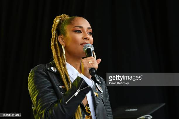 Amanda Seales attends 2018 Essence Street Style Festival on September 9 2018 in Brooklyn City