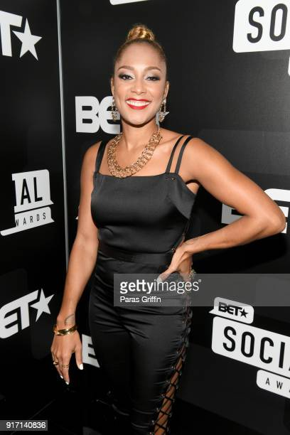 Amanda Seales attends BET's Social Awards 2018 at Tyler Perry Studio on February 11 2018 in Atlanta Georgia