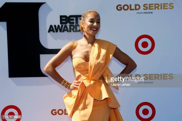 Amanda Seales attends the Pantene Style Stage at the 2019 BET Awards at the 2019 BET Awards at Microsoft Theater on June 23 2019 in Los Angeles...