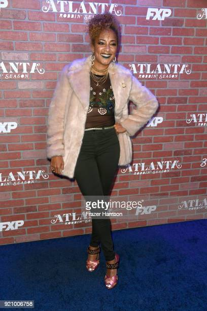Amanda Seales attends the premiere for FX's Atlanta Robbin' Season at The Theatre at Ace Hotel on February 19 2018 in Los Angeles California