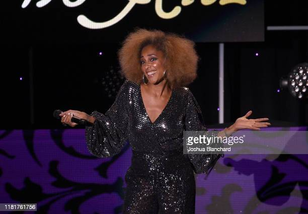 Amanda Seales performs onstage at the International Myeloma Foundation 13th Annual Comedy Celebration at The Beverly Hilton Hotel on October 17 2019...
