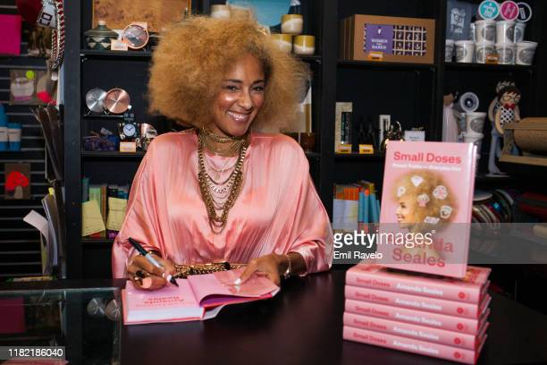 """Amanda Seales signs copies of her new book, """"Small Doses: Potent Truths For Everyday Use"""" at Book Soup on October 19, 2019 in West Hollywood,..."""