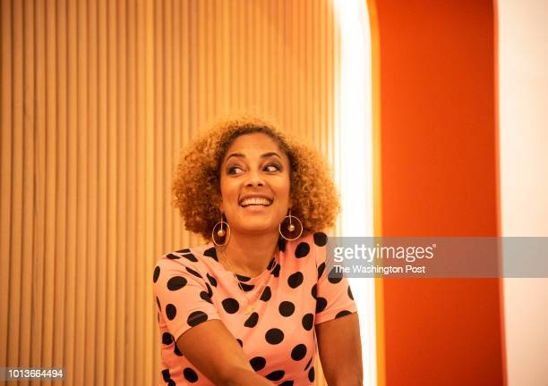 Amanda Seales speaks during a QA session moderated by Symone Sanders at The Wing in Washington DC on July 19 2018