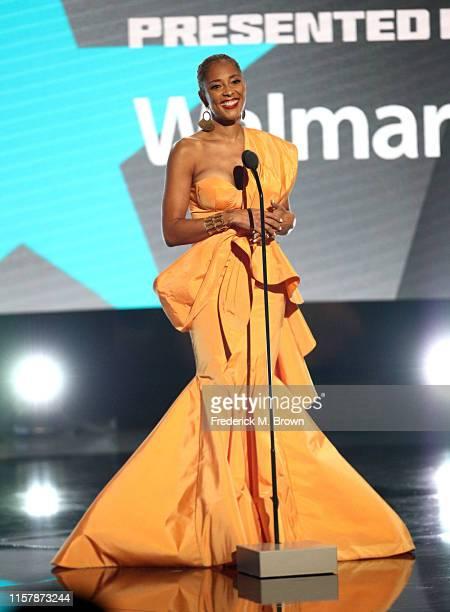 Amanda Seales speaks onstage at the 2019 BET Awards on June 23 2019 in Los Angeles California