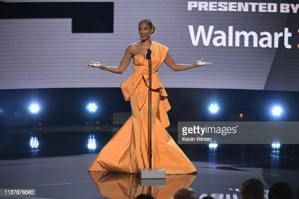 Amanda Seales speaks onstage at the 2019 BET Awards on June 23 2019 in Los Angeles California