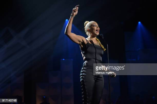 Amanda Seales speaks onstage during BET's Social Awards 2018 at Tyler Perry Studio on February 11 2018 in Atlanta Georgia
