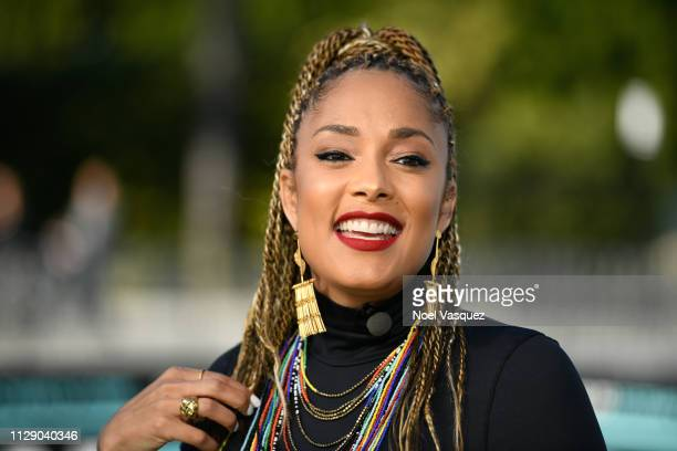 Amanda Seales visits Extra at Universal Studios Hollywood on February 11 2019 in Universal City California