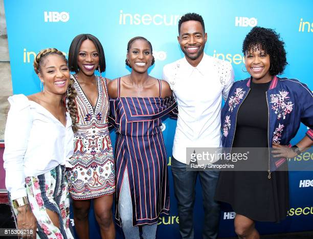 Amanda Seales Yvonne Orji executive producer and star Issa Rae Jay Ellis and Natasha Rothwell attend a block party celebrating HBO's new season of...