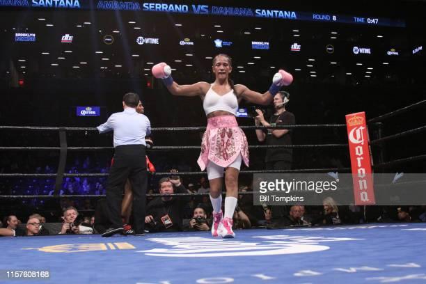 Amanda Seranno wins by eighthround TKO of Dahiana Santana to capture the vacant WBO Womenu2019s Bantamweight World Championship at The Barclays...