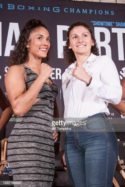 Amanda Serrano and Yamilla Reynosa pose during the Final Press Conference for their upcoming fight at Dream Hotel on September 6 2018 in New York City