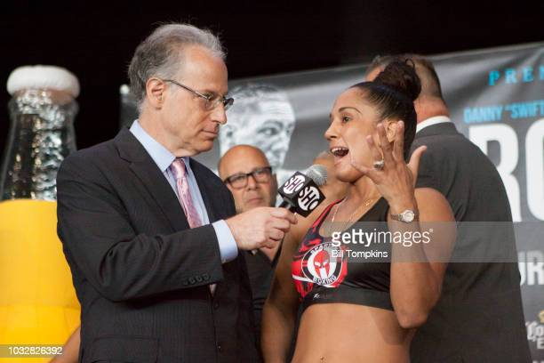 Amanda Serrano conducts an interview for herupcoming Junior Welterweight fight against Yamila Reynosa at Barclays Center on September 7 2018 in New...