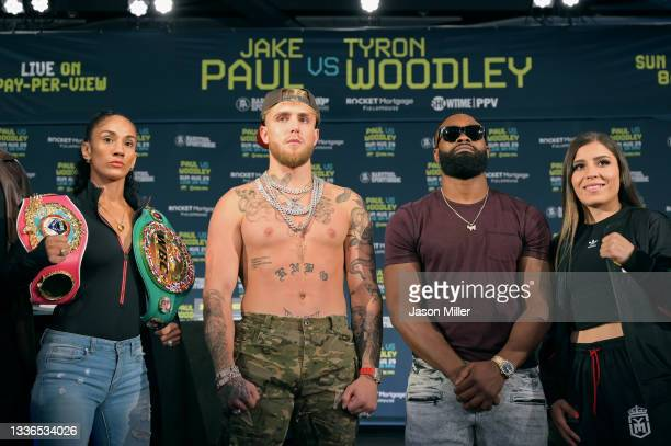 Amanda Serrano, Jake Paul, Tyron Woodley, and Yamileth Mercado who are all on the card for the August 29 fight pose for a photo at the Hilton...