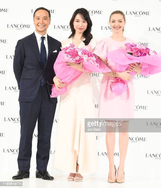 Amanda Seyfried, actress Erika Toda and Seiya Tsuzuki, General Manager, L'Oreal Luxe / Lancome Division attend the press conference for Lancome on...