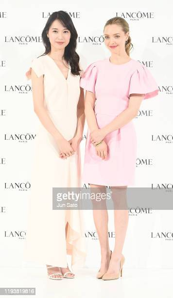 Amanda Seyfried and actress Erika Toda attend the press conference for Lancome on January 15, 2020 in Tokyo, Japan.