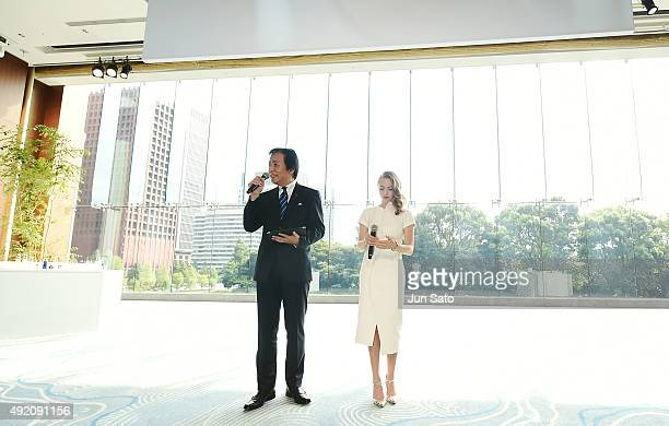 Amanda Seyfried and General Manager of Shiseido Co Ltd Keiichi Fujii attend the promotional event for Shiseido's Cle de Peau Beaute at the Palace...