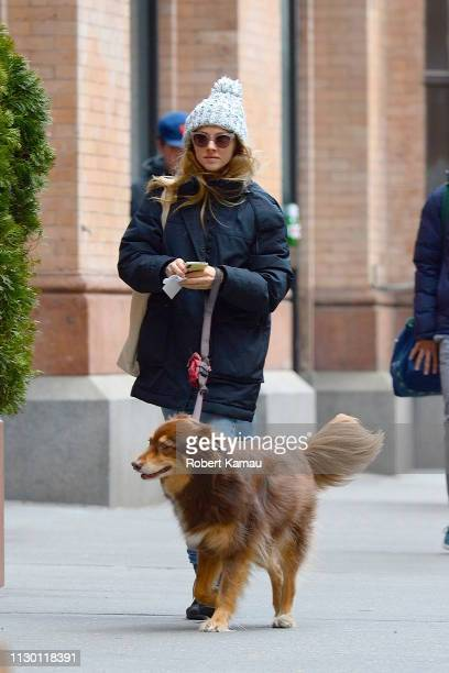 Amanda Seyfried and her dog Finn are seen out and about in Manhattan on March 12 2019 in New York City