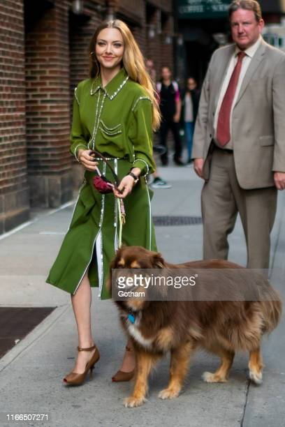 Amanda Seyfried and her dog Finn attend the Last Show with Stephen Colbert in Midtown on August 06, 2019 in New York City.