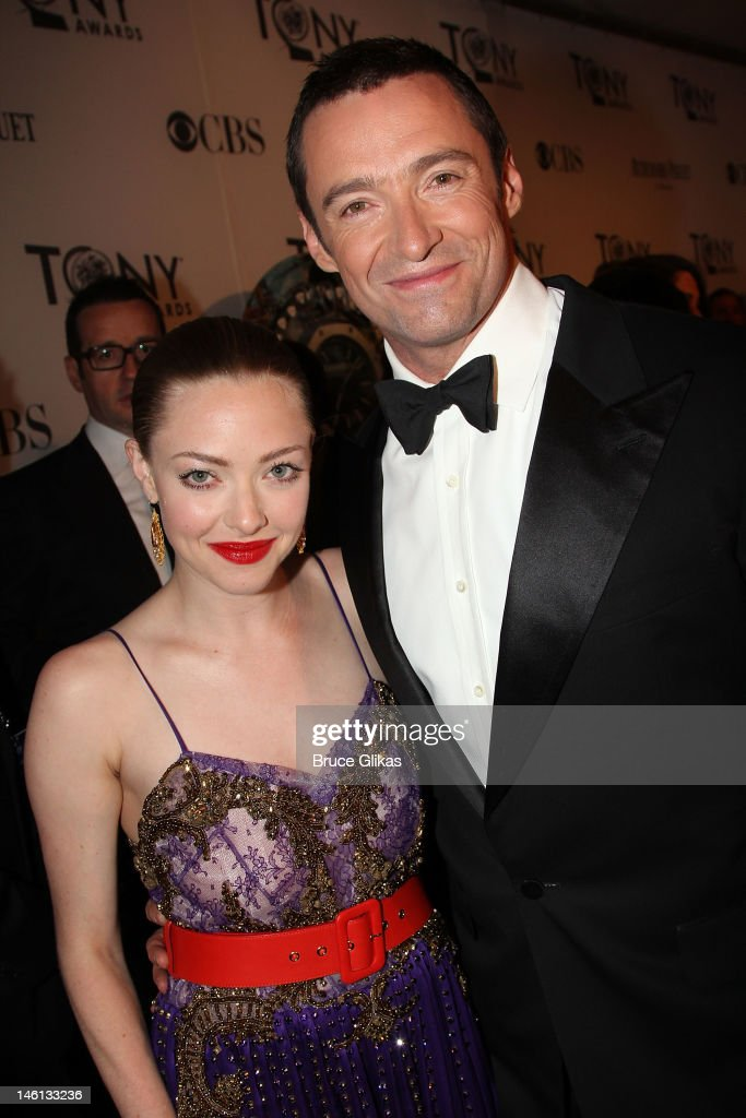 Amanda Seyfried and Hugh Jackman attend the 66th Annual Tony Awards at The Beacon Theatre on June 10, 2012 in New York City.