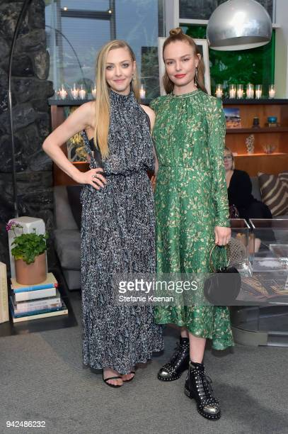 Amanda Seyfried and Kate Bosworth attend the HM celebration of 2018 Conscious Exclusive collection at John Lautner's Harvey House on April 5 2018 in...