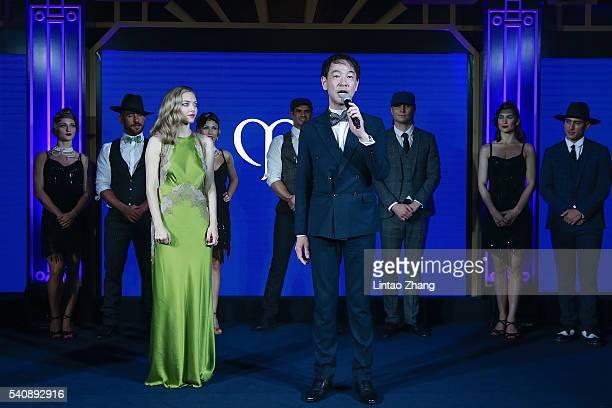 Amanda Seyfried and Kentaro Fujiwara CEO of Shiseido China attend the promotional event for Shiseido's Cle de Peau Beaute at Fairmont Peace Hotel on...