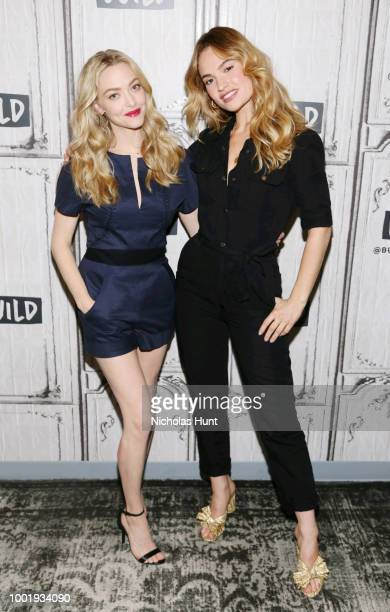 Amanda Seyfried and Lily James visti Build Studio on July 19 2018 in New York City